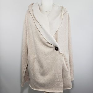 Sanctuary Soft Hooded Button Front Top, Size L